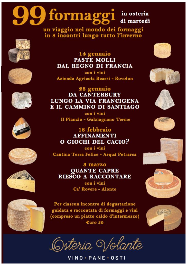 Locandina evento 99 formaggi in osteria